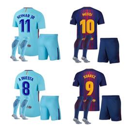 Wholesale Messi Jersey Xl - 10 set FREE DHL 2018 SUAREZ Jerseys 2017 Camisas Neymar Messi INIESTA PIQUE Soccer Jersey 2017 18 Camiseta de futbol SIZE S-XL