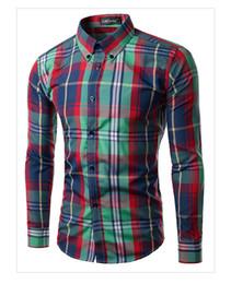 Wholesale Mens Colorful Fashion Shirts - Wholesale- Grid Stripe Mens Shirts Long Sleeves Colorful Fit Slim Causal Camisetas Mens Fashion Work Party Dress Shirts Homme XXL