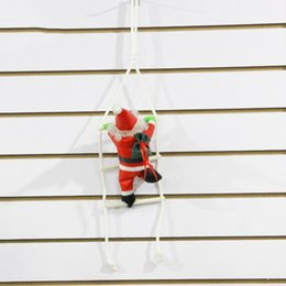Wholesale Christmas Wall Hangings - Christmas Ornament Hanging Ladder SANTA Claus Toy Windows Doors Walls Pendant Christmas Decoration Christmas Gift 60*14cm