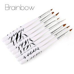 Wholesale Professional Nail Art Dotting Tool - Wholesale- 8pcs set White Zebra Nail Art Brush Set Designs Painting Drawing Dotting DIY Nail Art Pens Professional Salon Manicure Tools