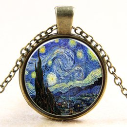Wholesale Black Circle Picture - Famous Printer Van Gogh The Starry Night Picture Pendant Necklace Moonlight Gem Stone Necklace Jewelry Vintage Bronzer Chains Retro Alloy