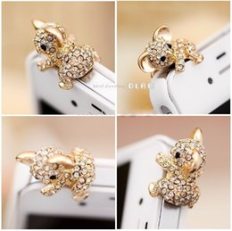 Wholesale Dust Mm - Wholesale-2016 Beautiful, perfect Diamond Koala anti dust plug silver crystals for phone with 3.5 mm jack Free shipping