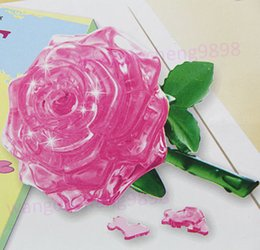 Wholesale Puzzle Furnish - Wholesale-3D Crystal Puzzle Jigsaw Model DIY Rose IQ Toy Furnish Gift Souptoys Gadget