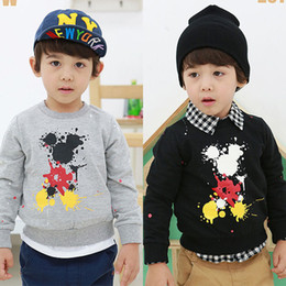 Wholesale Good Quality Kids Hoodie - Wholesale- sale children clothing 2015 spring autumn boys long sleeve sweatshirt good quality kids pullover mickey Hoodies for boys