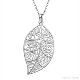 Wholesale Sterling Silver Fashion Jewerly - Hollow Leaf Pendant Fashion Jewerly 925 Sterling Silver Plated Rolo Chain Carve Leaves Charms Necklace Lady Girls' Beauty Christmas Gif