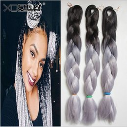 Wholesale Xpression Braiding Hair Wholesale - Kanekalon Jumbo Braid Hair 24inch 60cm 100g Black Dark blue Grey Red Ombre two tone color xpression synthetic big Braiding hair extensions