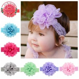 Wholesale Big Chiffon Flowers Baby Headband - Wholesale- 2015 New Hair Accessories Baby Girls Lace Headband Big Chiffon Flower Hairband Infant Toddler Girl Hair Weave Band 12color 578