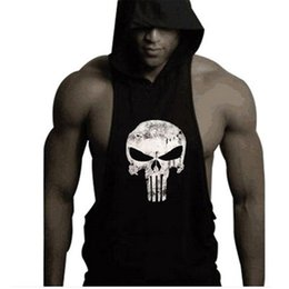 Wholesale Racerback Tank Tops - wholesale  2016 mens bodybuilding clothing sleeveless hoodie the punisher skull tank top racerback undershirt vest stringer tank tops
