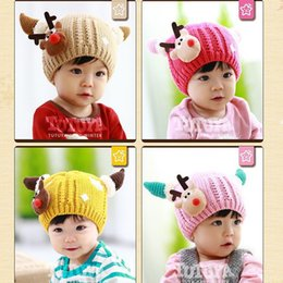 Wholesale Snow Cap Baby Girl - Children Santa Reindeer Horns Knitting Hat Scarf Suit Baby Wool Warm Winter Snow Christmas Cap For Xmas Party Gift