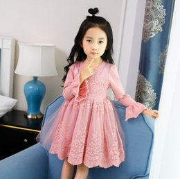 Wholesale Pink Twinset - 2017 new design baby girls autumn dress lace princess dress faux twinset design with petal long sleeve skirt kids dress