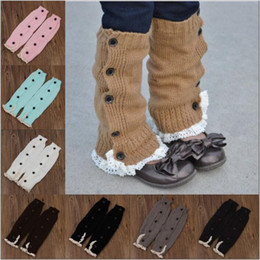 Wholesale Boot Cuffs Lace Wholesale - Lace Crochet Boot Cuffs Ballet Knit Leg Warmers Baby Buttons Trim Boot Cuff Christmas Leg Warmers Boot Socks Covers Knee High Socks B2606