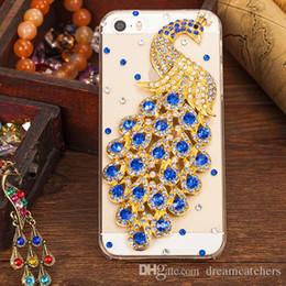 Cas de téléphone de paon de rhinestone en Ligne-Diamant Paon Coloré 3D Cristal Cas Transparent De Mode Bling Strass Téléphone Cellulaire De Protection Housse pour iphone 6s 5s