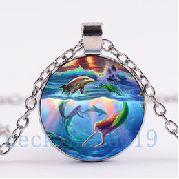 Wholesale Christmas R - 10Pcs Mermaid Dolphin Necklace,Christmas Gift,birthday Gift,Cabochon Glass Necklace,silver black Chain Necklace Fashion Jewelry R-812