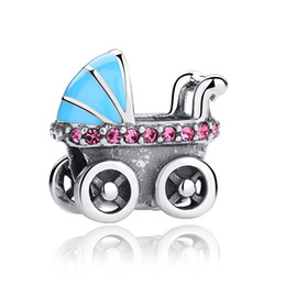 Wholesale Baby Blue Necklace - Solid 925 Sterling Silver Charm Bead Baby Car Murano Beads fit Bracelet Bangle Necklace Snake Chain DIY Jewelry C010