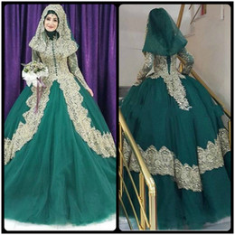 Wholesale Tulle Hijab - Turkish Islamic Green Wedding Dress 2017 Ball Gown Tulle Long Sleeve Gold Lace Applique Hijab Dubai Kaftan Muslim robe de mariage
