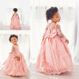 Wholesale Long Christening Gowns For Baby Girls - Lovely Pink Lace Ball Gown Baby Communion Dresses Sheer Long Sleeve Flower Girl Dresses For Wedding Princess Big Bow Girls Pageants Gowns