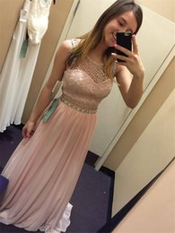 Wholesale High Neck Jeweled - Jeweled Waistline Pink Two Piece Lace Top Prom Dress 2016 for Juniors Illusion High Neck Sleeveless