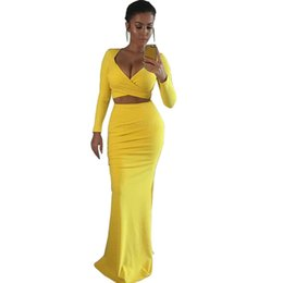 Wholesale Fashion Line Jerseys - Free Shipping 2018 New Fashion Women Two Piece Yellow Crop Top With Jersey Maxi Skirt Set Vestidos MKE-YH7173