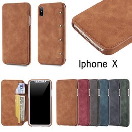 Wholesale Iphone Simple Flip Cases - for iphone x Luxury Flip Imitation Leather PU Cover Simple Version with Card Holder for Samsung Note 8 Iphone x