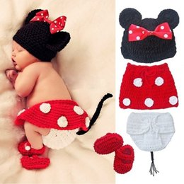 Wholesale Crochet Baby Minnie Mouse - 4pcs Crochet Newborn Baby Costume Infant Knit Minnie Mouse Outfits Photo Props