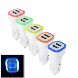 Wholesale Ipad Usb Lead - LED dual USD fast car charger Luminous 2.1A 2 ports quick car charging micro USB adapter chargers for iphone 8 7 samsung s8 s7 ipad tablet
