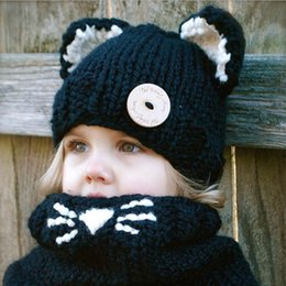 Wholesale kids knit cat beanie - Lovely Animal Cat Ear Hats Scarves Set For Kids Windproof Winter Supplies Wool Knitted Beanies Neckerchief Sets With Botton 28za B