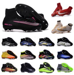 Wholesale Genuine Leather Spikes - New OriGINal mens high ankle SoCCer CleAts SuPErfLY V What the MerCURial CR7 Football Boots SuPERflys FG HERITAGE soccer Shoes assassin 10