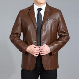 Wholesale Leather Sheep Skin Coats - Fall-Brown black business Sheep skin PU leather jacket high quality casual suits mens faux leather jackets and coats big size 4XL