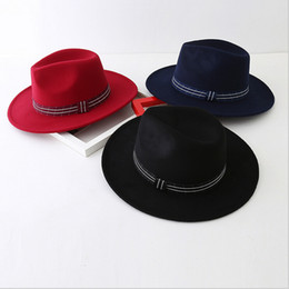 Wholesale Male Derby Hat - 2016 Autumn and Winter Woolen Hat large brimmed male and female jazz Cap British retro wild