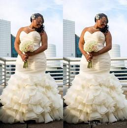 Wholesale Marriage Jewels - 2018 Plus Size Mermaid Wedding Dresses Ruched Draped Robe De Marriage Sweetheart Floor Length Long Bridakl Gowns Dubai Arabic