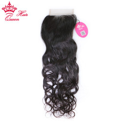 Wholesale L Virgin - Queen Hair Brazilian Virgin Hair 8A Grade Water Wave 3.5''x4'' (H L) Slightly Bleached Knots Hand Tied Free Part Lace Closure