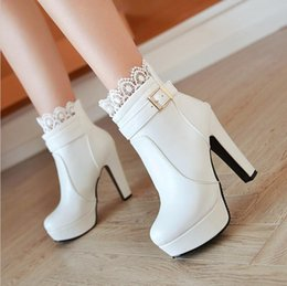 Wholesale Womens High Heels Booties - Women Ankle Boots High Heels Boots Platform Shoes womens Fashion Lace Buckle Thin Heel Boots Womens Spring Autumn White Booties