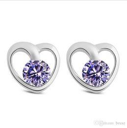 Wholesale Super Jewelry - High quality Female Heart-shaped earrings female Korean retro fashion earrings Heart Song Super Flash zirconium jewelry Shiershan