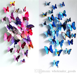 art deco animal Rebajas Pegatinas de pared 3D Colorful Butterfly Sticker Art Wall Mural Pegatinas de pared de la puerta Home Deco Fashion Pegatinas de colores e impermeable