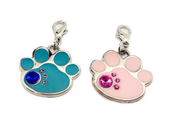 Wholesale Paw Dog Collar - Pink Blue Color S Size Paw Shape Pet Tag ID With Diamond Good Quality Pet Pendant Dog Accessory Hotsale Fit Pet Collar 50PCS LOT