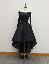 Wholesale Low Scoop Sequin Dress - 2017 Black Vintage Runway Lace Evening Dresses Long Sleeves Scoop with Belt High-Low A-line elegant Prom dress free shipping