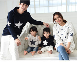 Wholesale Mother Son Fashion Clothes - autumn winter cotton star hoodie mother daughter son father mom clothes family matching outfits clothing sets