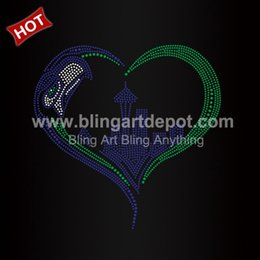 Wholesale Heart Transfers - Heart Rhinestone Transfers Seahawk Iron On Motifs For Clothes Decoration Custom Service Free Cost Free Shipping