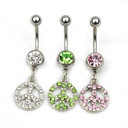 Wholesale peace rings - D0213 ( 3 colors ) The peace new style 077-01 piercing body jewelry Belly Button Navel Rings with clear stone