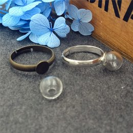 Wholesale Globe Rings - 10sets lot 8mm empty glass globe ball bottle 3mm mouth with ring base set glass vial pendant charms glass dome cover Christmas present