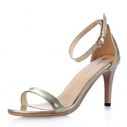 Wholesale Leather Sandals For Ladies - New Summer Vogue Gold Silver Women Clasic Dancing High Heel Sandals Party Wedding Shoes for Ladies Office Work Thin Heels