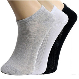 Wholesale Polyester Satin Shorts - 5pair Men Socks Brand Quality Polyester Casual Breathable 3 Pure Colors Socks Calcetines Mesh Short Boat Socks For Men Meias