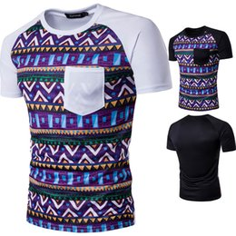 Wholesale Ethnic Clothing Men - Mens Short Sleeved T Shirts Ethnic Print Casual Tshirts Bohemia Style Pop Clothing Wholesale 2017 Hot