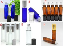 Wholesale Fragrance Sales - 6 Styles 900Pcs 10ml ROLL ON GLASS ESSENTIAL OIL BOTTLE Perfume Stainless Steel Roller Ball Fragrance Bottles HOt Sale in AU USA