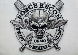 Wholesale 12 Inch Military - 4.3*4 inch 3D Embroidered Pacth with magic tape U.S. Marine Corps Patches recon US MC force military Badge VP-12