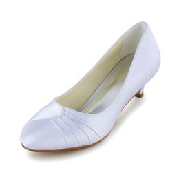 Wholesale Satin Low Heel Shoes - Little Heel Round Toe Wedding Dress Shoe Bridal Shoes Wedding Dress Shoes Handmade Shoes for Wedding From Size35-41