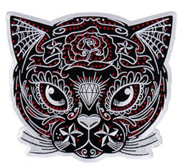 """Wholesale Iron Motorcycle Club - 4"""" Sugar Cat patch Outlaw Club Rider Rock Heavy Metal MC Motorcycle biker vest Costume Embroidered iron on badge"""