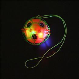 Wholesale Led Flashing Bounce Balls - Flash LED Dance Football Ball Baby Toys LED Light Flashing Bounce Ball children creative dancing bouncing ball with rope Kids Gift free ship