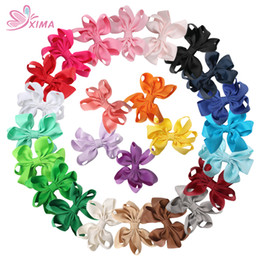 Wholesale Clip Bow Ties Wholesale - XIMA 25pcs lot 3inch Grosgrain Ribbon Bows with Clips for Girls Boutique Hairpins Cute Kids Hair Ties Hair Accessories