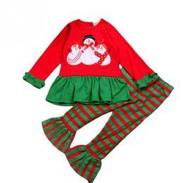 e491f5507c Ropa de bebé Ropa para niños Moda Pijamas de navidad Muñeco de nieve Tops +  Pantalones a rayas 2PCS Ropa para niñas Conjunto Niñas recién nacidas  Trajes de ...